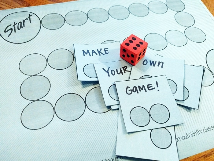 3 Free Game Boards to Make Your Own Center Activities - blank game board and cards