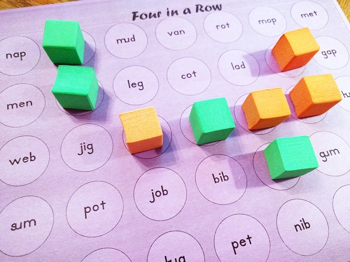 3 Free Game Boards to Make Your Own Center Activities - cvc four in a row