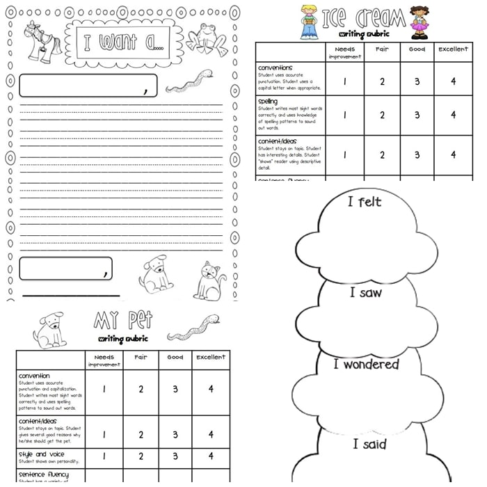 3 free Writing Rubrics for Primary Grades