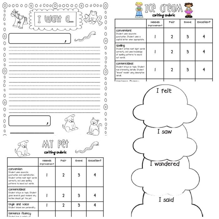 3 free Writing Rubrics for Primary Grades