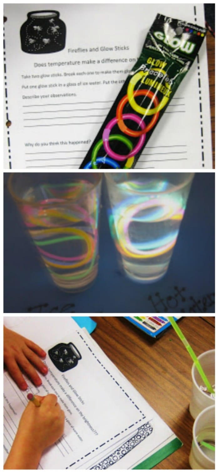 31 Easy and Fun Camping Theme Ideas and Activities - fireflies and glowsticks science experiment - Teach Junkie