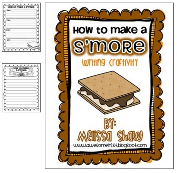 31 Easy and Fun Camping Theme Ideas and Activities - how to make a s'more writing craft - Teach Junkie