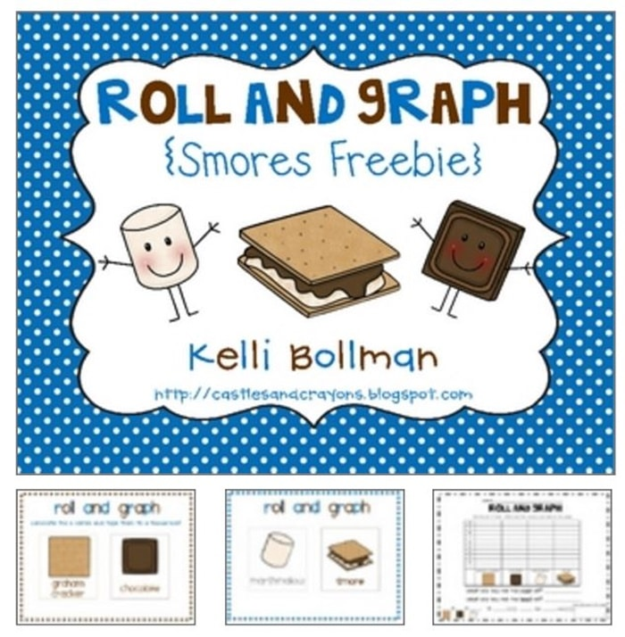 31 Easy and Fun Camping Theme Ideas and Activities - s'mores roll and graph free download activity and worksheet - Teach Junkie
