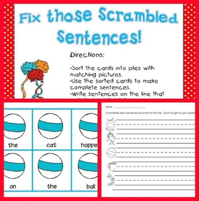 31 Ideas for Read Across America - Fix scrambled sentences