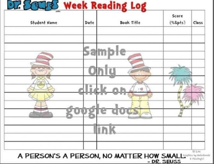 31 Ideas for Read Across America and Dr. Seuss - Reading Log