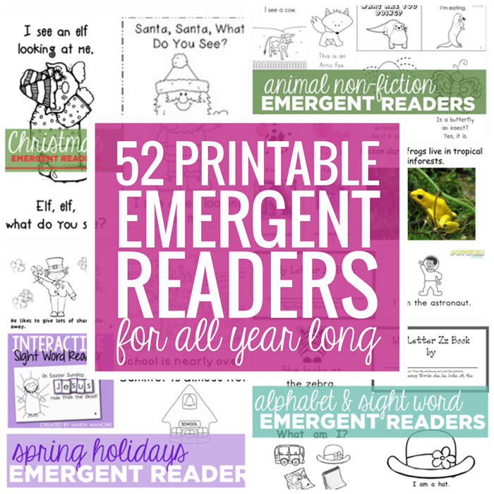 52 Free Printable Emergent Readers for All Year Long