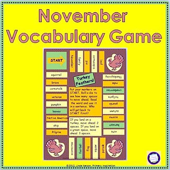 54 Fantastic Fall Thanksgiving Freebie - November Vocabulary Game - Teach Junkie