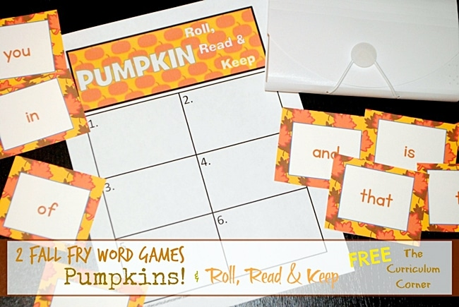 54 Fantastic Fall Thanksgiving Freebie - Roll, Say, Keep Fry Words - Teach Junkie