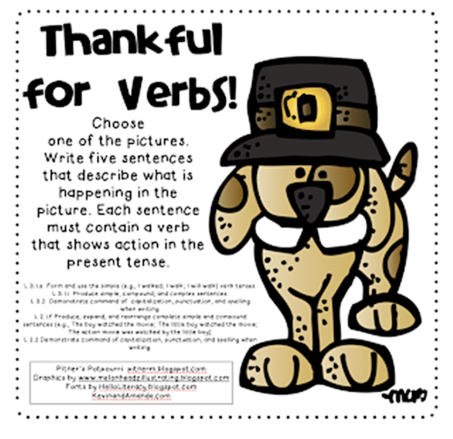 54 Fantastic Fall Thanksgiving Freebie - Thankful for Verbs - Teach Junkie