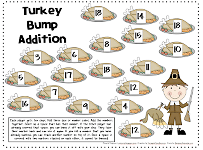 54 Fantastic Fall Thanksgiving Freebie - Turkey Bump Addition - Teach Junkie