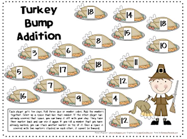 54 Fantastic Fall Thanksgiving Freebie - Turkey Bump Addition - Teach Junkie