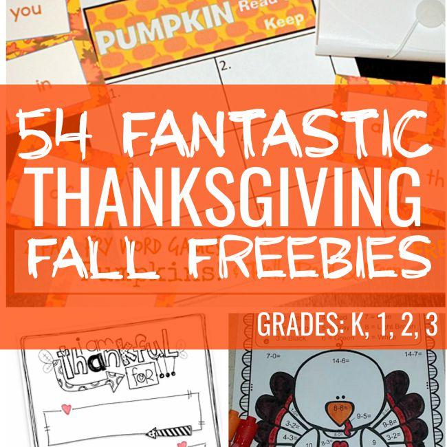 54 Fantastic Fall and Thanksgiving Freebies - Teach Junkie