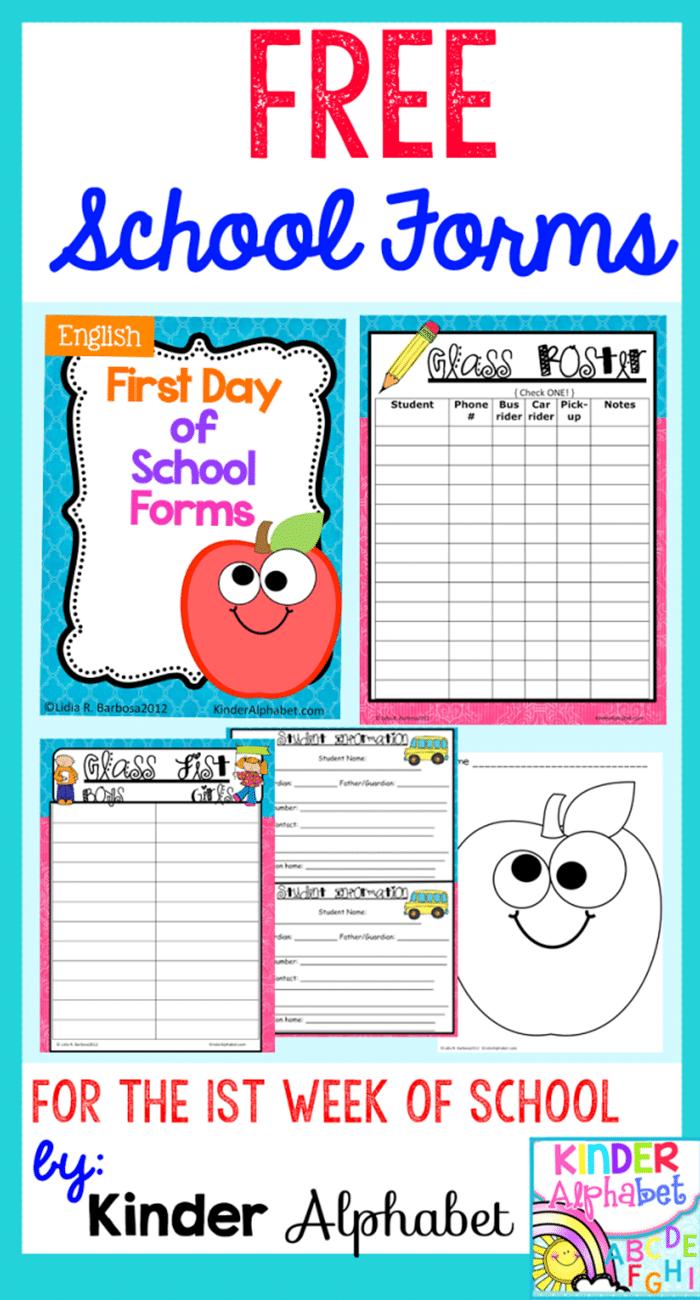 6 Back to School Freebies - School Forms