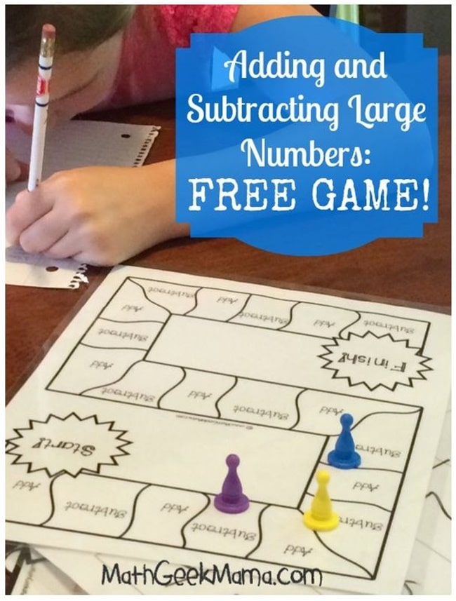 Free Add Subtract Large Numbers Game Board Teach Junkie