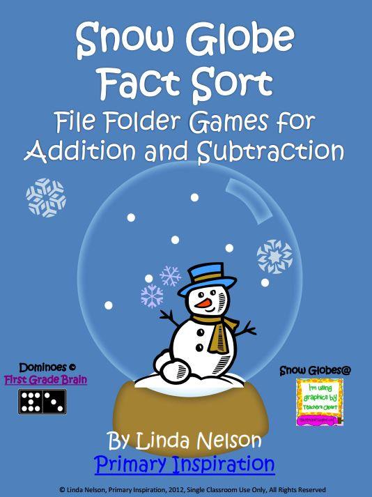Addition and Subtraction Fact Sort Snow Globes - Teach Junkie