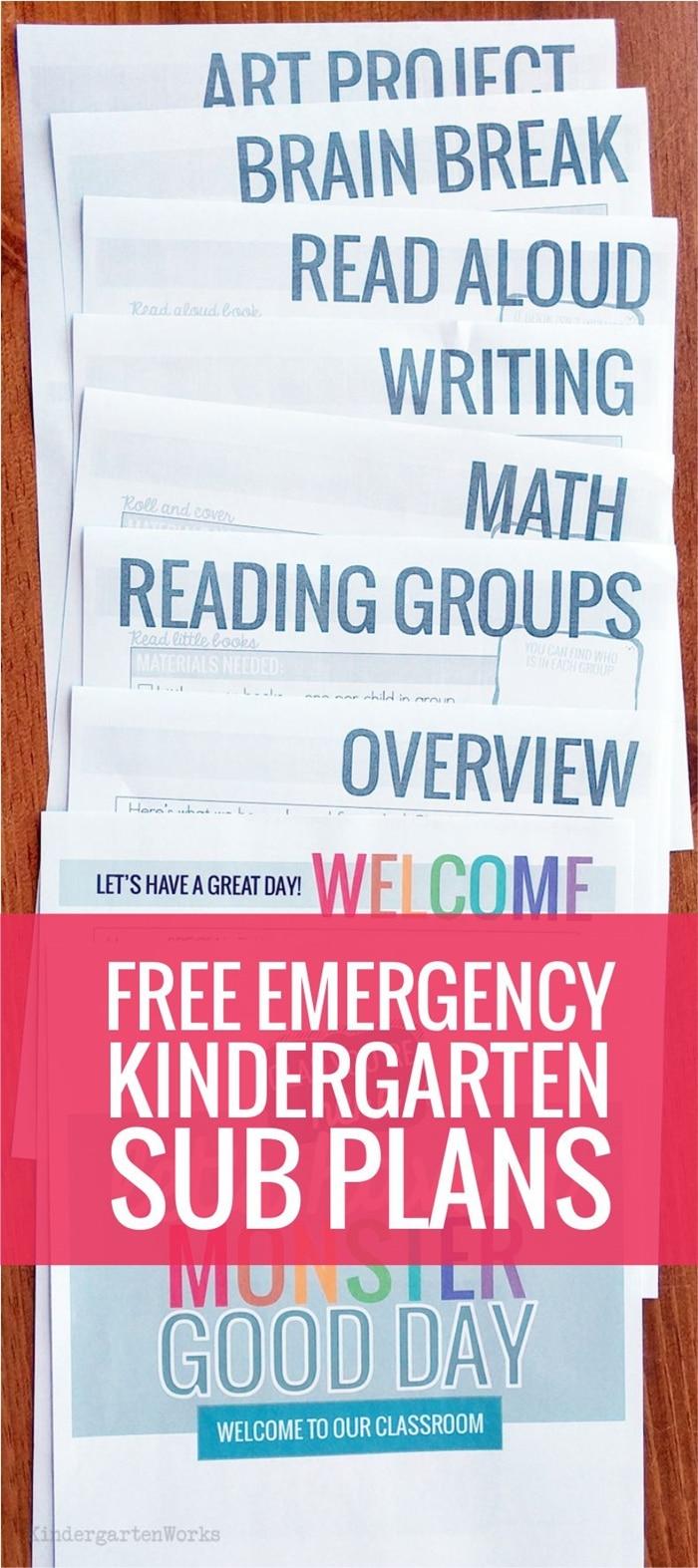 Beginning of the year emergency sub plans for kindergarten - monster theme