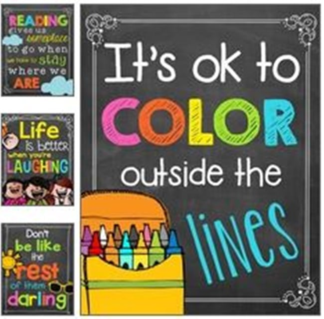 Chalkboard Colorful Classroom Poster Quotes - Collection Free Classroom Posters - Teach Junkie