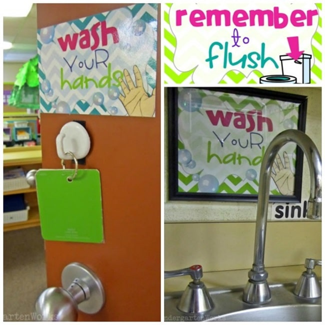 Classroom Wash and Flush Signs - Collection Free Classroom Posters - Teach Junkie