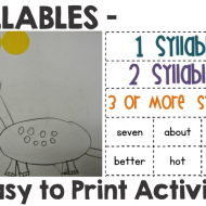 Syllables – 8 Easy to Print Activities