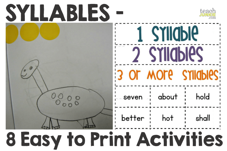 Syllables 8 Easy to Print Activities Teach Junkie – Syllables Worksheet