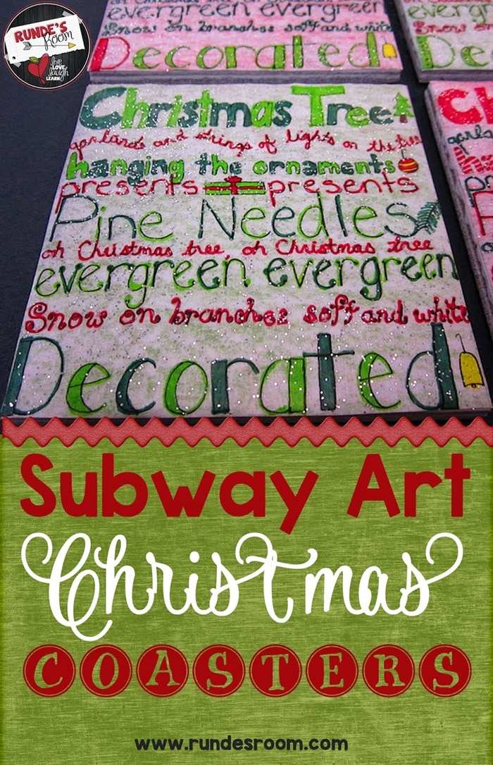 Covered in Glitter - Subway Art Christmas Coasters for students to give to parents as Christmas gifts