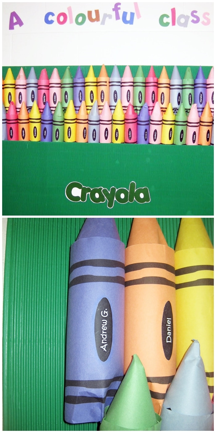 Crayon Bulletin Board Template Freebie - each student's name on a crayon made from water bottles