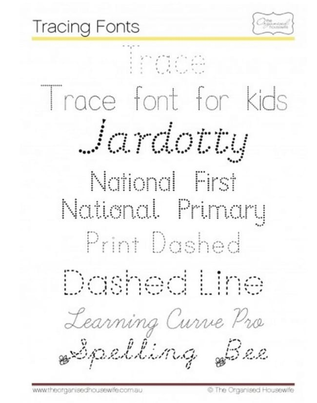 6 free tracing fonts for kids teach junkie. Black Bedroom Furniture Sets. Home Design Ideas
