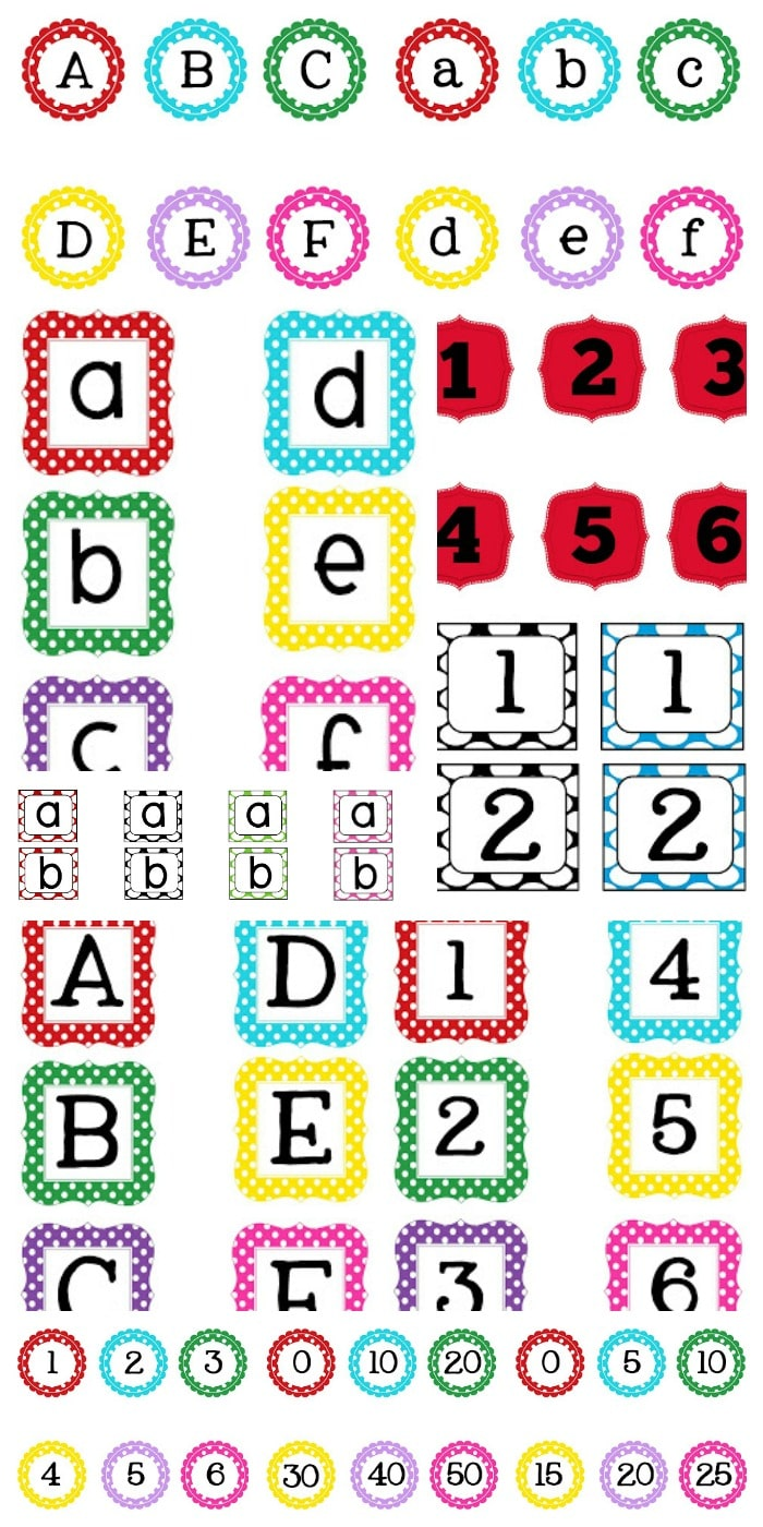 Cute and Free Word Wall Alphabet and Numbers