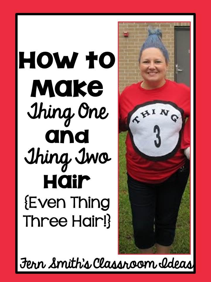 DIY Thing 1 Thing 2 Hair Dr Seuss Day - Teach Junkie