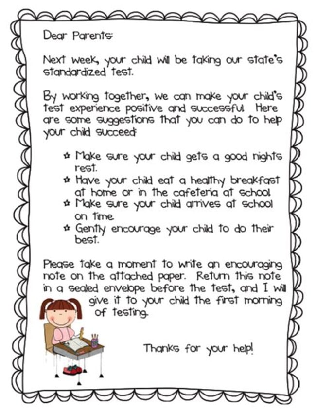 Adorable image with encouraging notes for students during testing printable