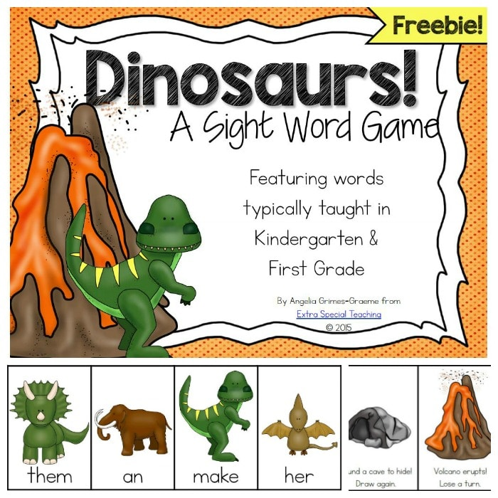Dinosaur Sight Word Game ~ Free!