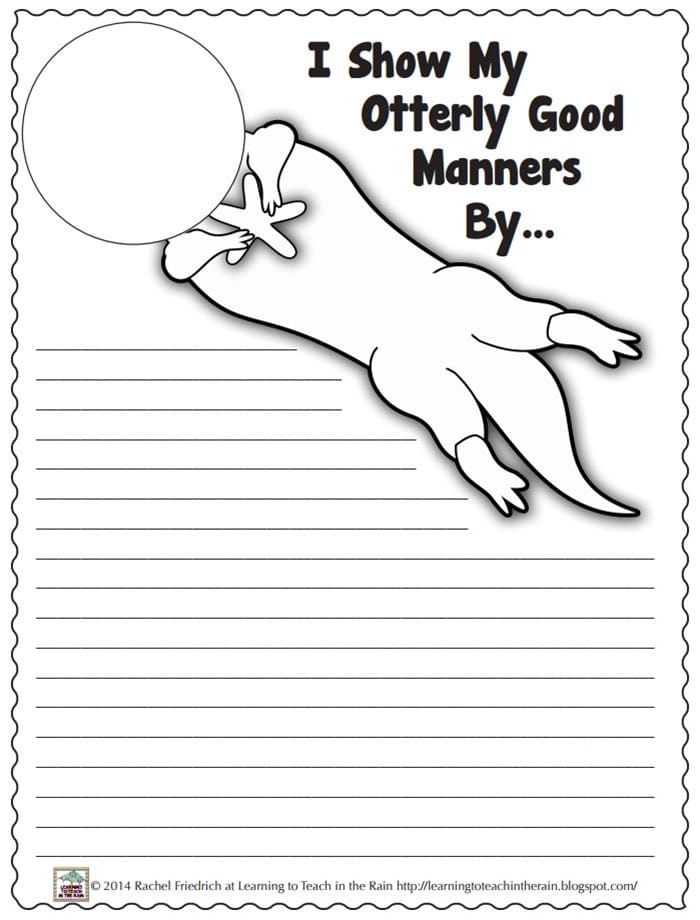 Do Unto Otters Book Activity Suggestions - writing prompt
