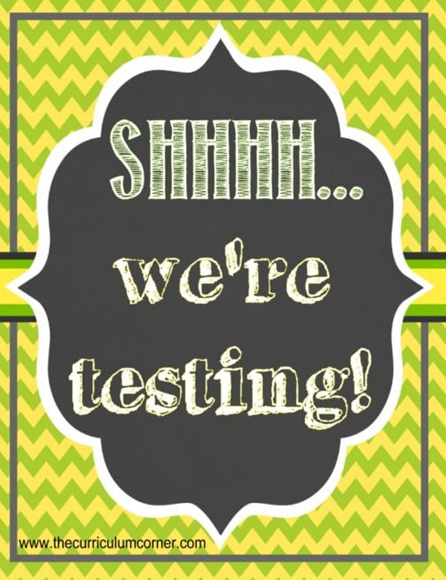 """Shhhh - We're Testing"" Door Sign {Printable} - Teach Junkie"
