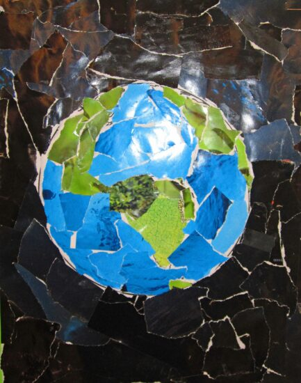 Earth Day Art Collage with Recycled Magaznes