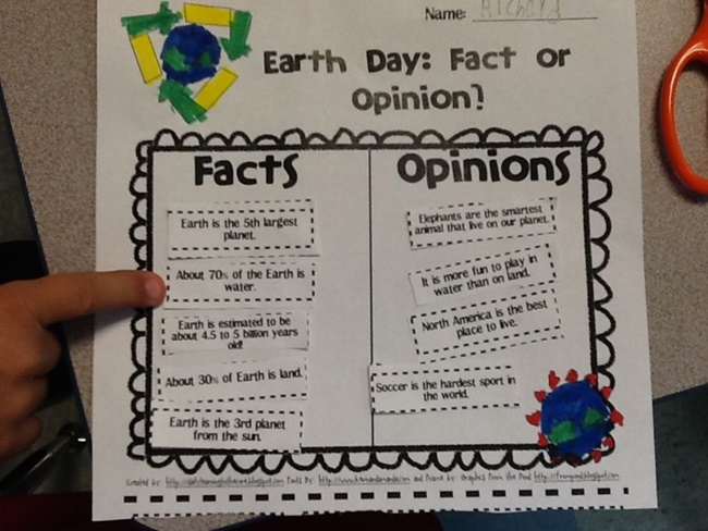 Earth Day Fact or Opinion - Teach Junkie