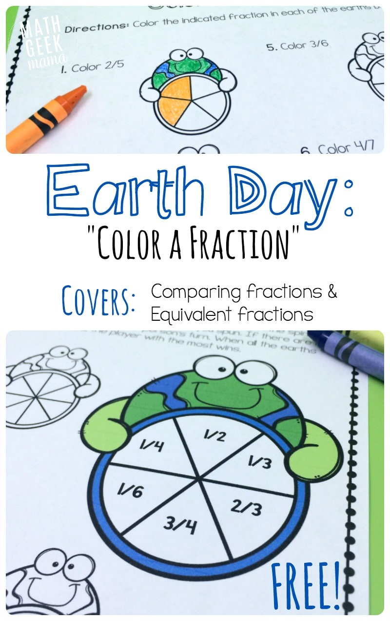 Free Earth Day Fractions Printable Pack Teach Junkie