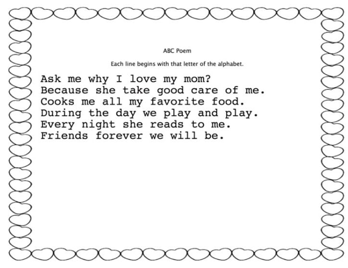 Easy Mothers Day Cards to Make in School - Mothers Day Poetry on free pre-made templates