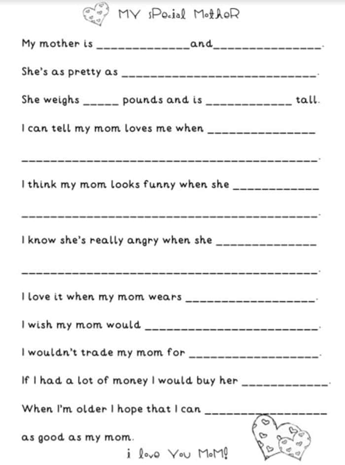 Easy Mothers Day Cards to Make in School - about my mom fill in the blank
