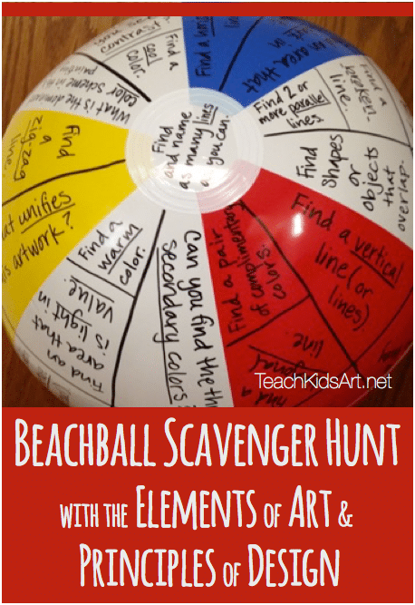 Elements of Art and Principles of Design Beach Ball Scavenger Hunt - Teach Junkie