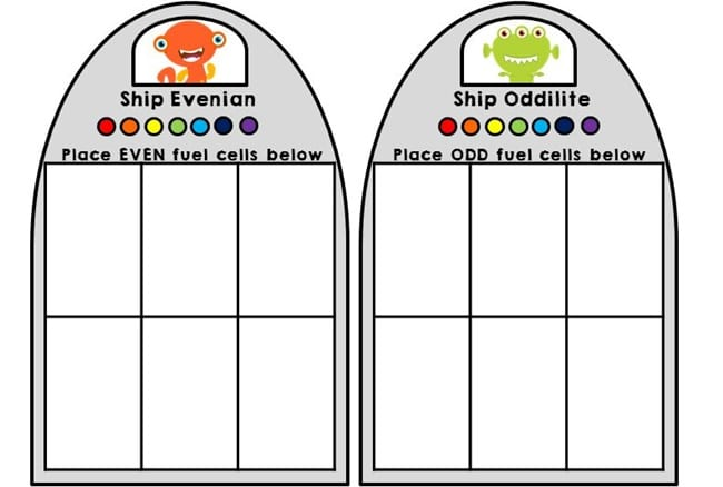 Even and Odd Cut and Paste Alien Printable - Teach Junkie