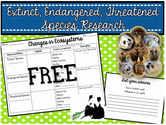 Research Project Organizer: Extinct, Endangered, Threatened Species - Teach Junkie