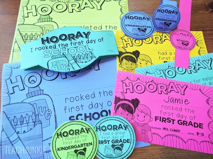 FREE First Day of School Certificates - editable date and teacher name