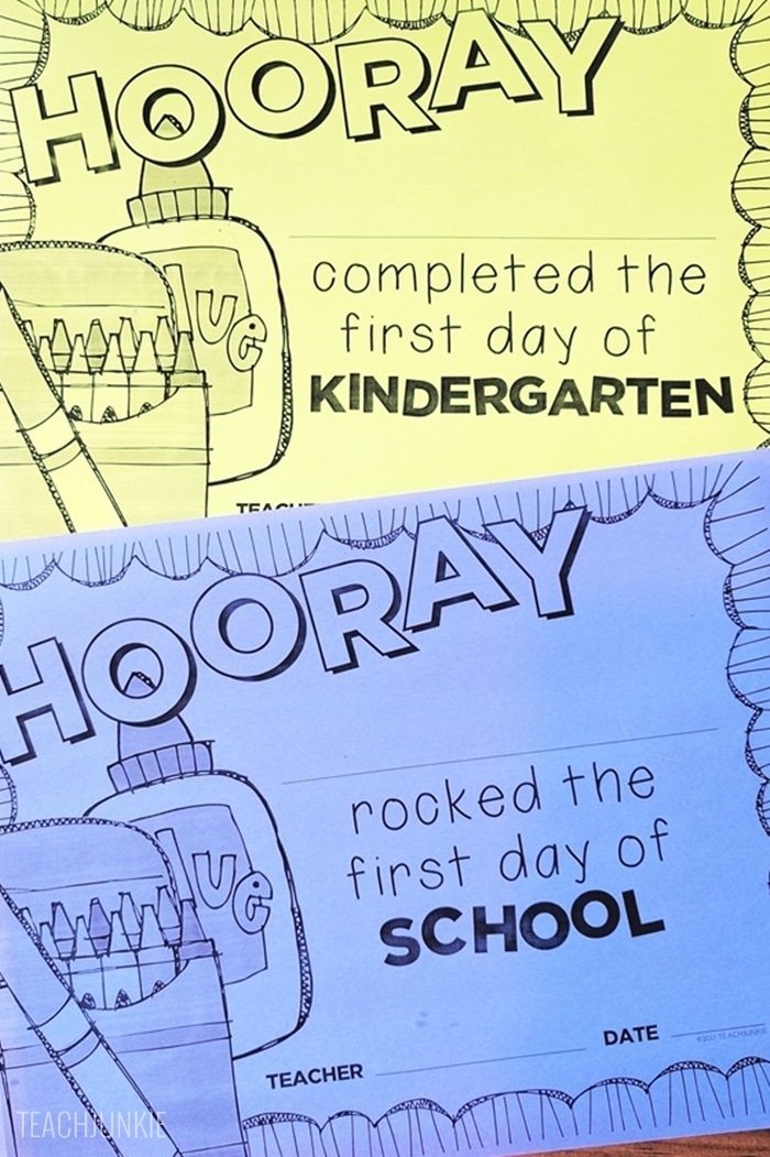 FREE First Day of School Certificates for elementary
