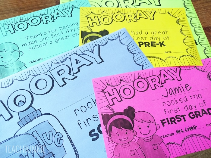 FREE First Day of School Certificates for pre-k kindergarten tk and first grade