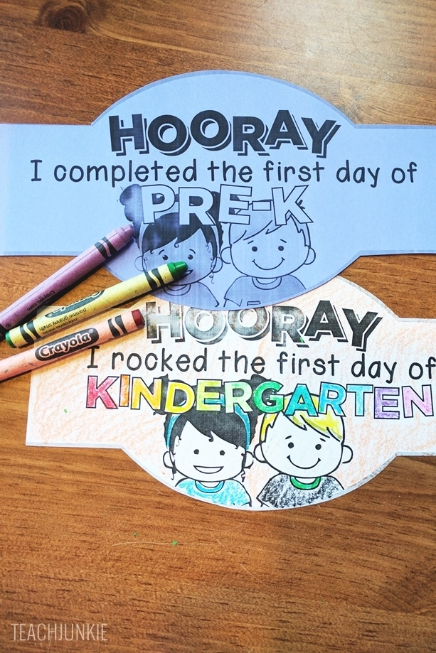 FREE First Day of School Headband Crowns - printable or coloring sheet