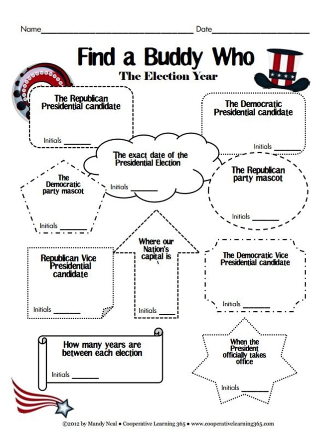 8 Fast and Friendly Patriotic Freebies - Find a Buddy Who - Teach Junkie