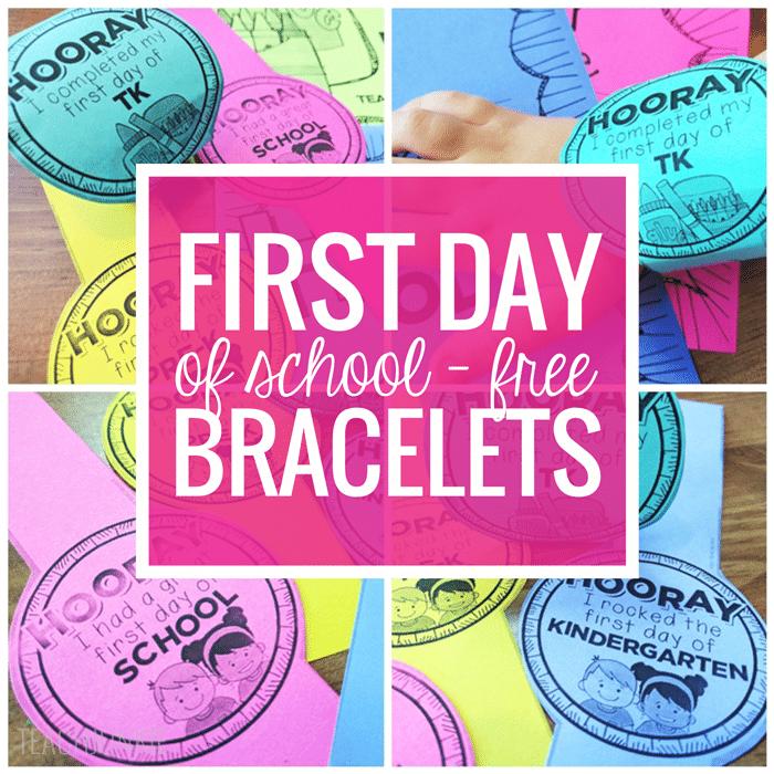 First Day of School Bracelets Freebie