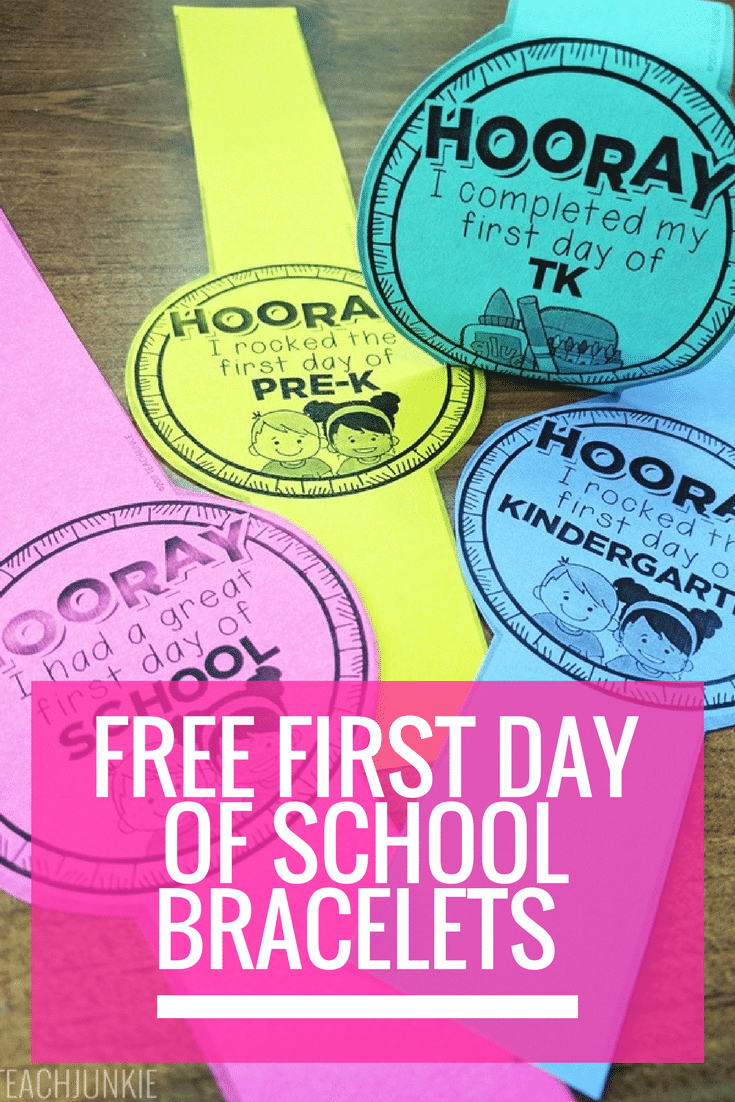 First day of school bracelets free printable