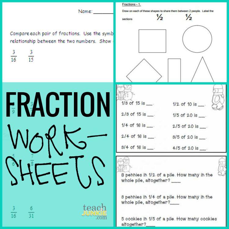 Fraction Worksheets - Teach Junkie