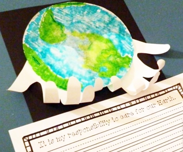 Free April Activities and Printable Resources - Earth Day world in my hands activity